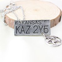 animal license plates - For Movie Style Jewelry Supernatural Kansas KAZ Y5 License Plate Number Pendant Necklace Vintage Necklace