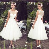 online store - Vintage Wedding Dresses Tea Length Sheer Neck Scoop Lace A Line Bridal Gowns Tulle Elegant White Jordan Dress For Bride Online Store