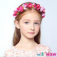 apparel tiaras - Pink Girls Hair Accessories Girls Party Performance Apparel Headdress Flowers and Wreaths Western Europe Temperament Girl Tiara