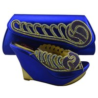 Wholesale Heel cm L57 Elegant royal blue ladies shoes with rhinestone decoration african shoes matching handbag sets for party dress