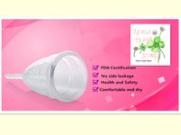 Wholesale DHL set ECO friendly FDA ultra transparent medical silicone famale menstrual cup no sale