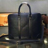 Wholesale 2016 L Brand Mens Business Real EPI Leather Document bag Top Grade Quality Briefcase porte document voyage bag M41142 mens shoulder bags