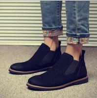 Wholesale Chelsea leather boots man Martin British men s boots and velvet cotton shoes boots winter snowshoes desert boots men s shoes