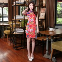 Wholesale Sexy Short Mini Formal Dresses Chinese cheongsam short dress gown qipao Hand peony embroidered Peony Cotton