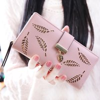 beautiful business card holder - Hollow Out leaf Women long wallet PU leather women purse korean style ladies wallet clutch beautiful card holder Long Zipper Purse
