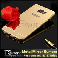 bag mirror frames - Samsung galaxy s6 s7 edge iphone s plus luxury Aluminum metal bumper frame case with mirror Back cover plastic hard Backplane with pp bag