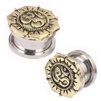 Wholesale Screw Taper Plug - Surgical Steel Sandblast Top Screw Fit Ear Plugs Gauge Expander Earlobe Taper Stretcher Ear Piercing Ear Tunnel Plug