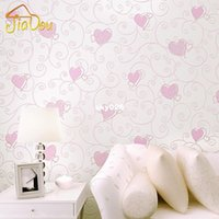 Wholesale 3D Pink Love Heart Cartoon Princess Girl Room Background Wallpaper Roll D Embossed Flocking Non Woven Kids Wall Covering Paper