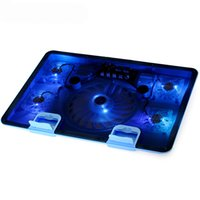 air video pc - Genuine Fan USB Laptop Cooler Cooling Pad Base LED Notebook Cooler Computer USB Fan Stand For Laptop PC Send Gift Video