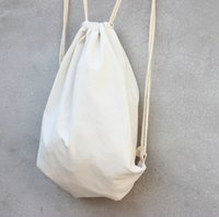 backpack crafts - white Canvas drawstring backpack blank plain organizer Rucksack Travel sports phone Bags handbag for men women kids DIY Gift crafts bags
