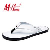 Wholesale Flip Flops Men Real Leather Summer Sandals For School Street Casual Walking Seaside Beach Soft Non slip Bottom Stylish Flats