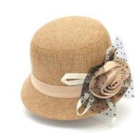 Wholesale NEW Floppy Bowler Hat British Fashion Elegant Women Fedora Cloche Hat Linen Gauze Vintage Flower Autumn And Winter Hat