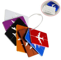 Wholesale Aluminum Luggage Tag Travel Boarding Aircraft Plane Shape Suitcase Tag Label Name Address Holder Hangtag Travel Kit colors