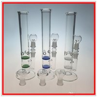 Wholesale Two Function Glass Bongs Bong layer honeycomb perc joint Smoking Pipes Straight Tube Water Pipe Ice Pinch inch Oil rigs blue green x