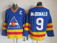 Wholesale Colorado Rockies Throwback Jersey Mens Lanny McDonald Blue CCM Vintage Ice Hockey Jersey