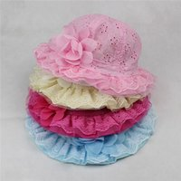 beach sellers - Hot Seller Baby Girl s Children s Toddler Sunhat Bucket Hats Beach Caps Lacy With Bow Cotton Blends GA457