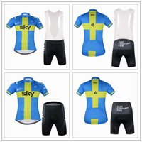 Wholesale 2016 Sky Cycling Jerseys With Sweden Flag Blue Yellow Colors Short Sleeves Bike Wear Quick Dry Close Fitting Size XS XL For Men Women