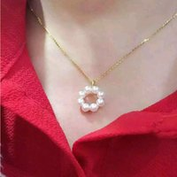 beaded curb - Size MM MM pearl K gold Curb Chain new brand necklace women love sets fit pretty box pouch promise high quality