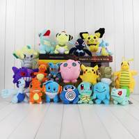 Wholesale Poke plush toys styles Dragonite Pikachu Jigglypuff gengar Jirachi Charmander cm Soft Stuffed Dolls toy New years Gift