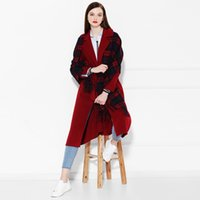 Wholesale Soft red wool blue black classic Scottish plaid fringed scarves rectangular shawl
