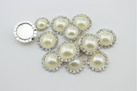Wholesale 16mm Metal rhinestone buttons flat back crystal pearl button DHL EMS FreeShipping