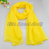 Mujer caliente bufandas amarillas sólidas de primavera y otoño COLOR MIXTOS satén cachecol bufanda del mundo del estilo chica chal de gasa de 20 colores