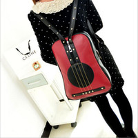 backpack travel europe - Fancy PU Leather Europe Style Fashion Guitar Backpack Personality Rock Leisure Life Bag Unisex School College Travel Rivet Daypack