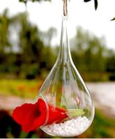 achat en gros de vases en verre de conteneurs-Suspendre Plantes Vase Verre Hanging Air Plante Terrarium, Moss Succulent Planteur hydroponique Party Container Decor Wedding Tear Drop Shape