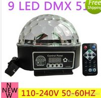 Wholesale 9 color LED DMX Stage Lights Crystal Magic Ball Lighting Effect Light remote control For Bar Party Nightclub Disco AC110V V