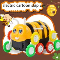 bee cars - 2016 New Cartoon electric toy Car Little bee wheel Colored Skip car Automatically turning children electric strange new toy