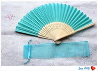 bamboo sky - White Elegant Folding Silk Hand Fan with Organza Gift bag Wedding Party Favors Gift