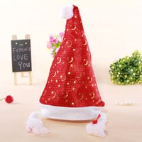 Wholesale gold snowflake Christmas Hats moon and stars Christmas millinery Non Woven Christmas Supplies Sweetheart Red Hats With Plait in stock