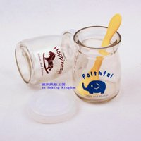 Wholesale 100ml lid spoon glass bottle milk bottle pudding dessert yogurt dessert jam Random Delivery