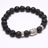 antique buddha head bracelet - Hot Men Fashion Black Lava Stone Antique Silver Alloy Buddha head Cuff Charm Bangle Bracelet