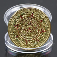 Wholesale 1x Gold Sliver Plated Mayan Aztec Prophecy Calendar Commemorative Coin Art Collection Gift