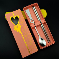 Wholesale Wedding Favors Gifts Stainless Steel Spoon and Chopsticks Set with Gift box packing