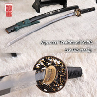 Cheap Japanese Samurai Sword Katana Abrasive Damascus Clay Tempered Sharpened Blade Full Tang Brass Tsuba Seashell Saya