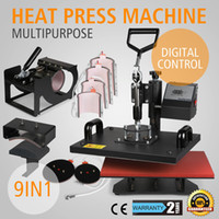 Wholesale 9IN1 HEAT PRESS TRANSFER MULTIFUNCTIONAL T SHIRT SUBLIMATION DIGITAL TIMER PRINTING MACHINE quot X12 quot PLATEN LATTE MUG COFFEE CUP COATED HANDL
