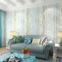 Wholesale New Birch Tree Pattern Non Woven Woods Wallpaper Roll Modern Designer Wall covering Simple Black And White Wallpaper For Living Room jy748