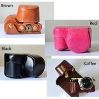 Wholesale PU Leather Camera Bag Case Cover Pouch for Sony A6000 NEX NEX6L Camera portable carry bag brown red white black coffee color