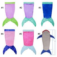 Wholesale Flannel Mermaid Tail Blanket Shark Sleeping Bag Fancy Blanket Bed Wrap Costume For Kids