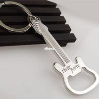 Wholesale Gift Zinc Alloy beer guitar bottle opener bottle opener keychain keyring key chain key ring
