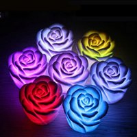 Wholesale 12pcs Romantic Rose Flower led lamp Color Changing Led Night Light Candle lights Wedding decoration birthday Gift