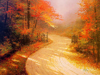 autumn thomas - Thomas Kinkade paintings of Autumn Lane Landscape art colorful High quality Hand painted