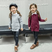 Wholesale 2016 Han Edition Children s Clothes New Autumn Girl Child In Pure Color Knit Two Pockets