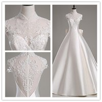 Cheap Free shipping A-line Wedding Dress-Cathedral Train babyonline bridal High Neck Bow Satin   Tulle customized