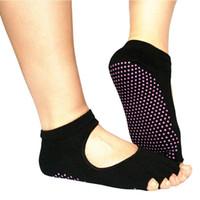 Wholesale Backless Yoga Five Toe Socks Non Slip Professional Sport Cotton Sock For Women Men Colors