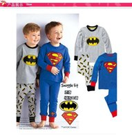 Wholesale 2016 Boys kids cartoon cotton pajamas superman batman long sleeves home wear suit pajama pyjamas MC0096