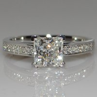 Wholesale T Classic Claw silver Ct Hybrid Simulated Diamond Ring Princess Wedding Ring