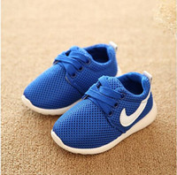 Wholesale 2016 hot sale boys girls net breathable sport shoes outdoor casual soft bottom wear shoes fashion sneakers for kids No